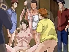 Busty Brunette Anime Babe Is Getting Filmed Blowing And